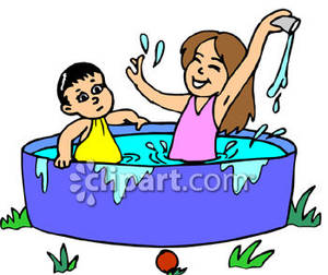Children Playing In A Pool   Royalty Free Clipart Picture