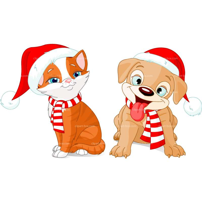 Christmas Cat And Dog Clipart