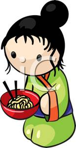 Clipart Image Of An Asian Woman Eating A Bowl Of Noodles