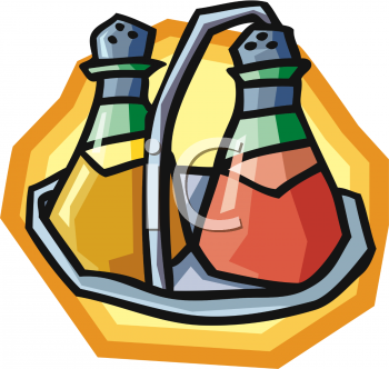 Clipart Picture Of A Set Of Vinegar And Oil In Bottles