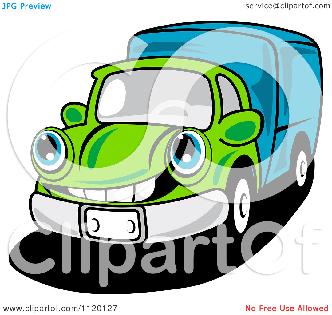 Delivery Truck Clipart Cartoon Of A Happy Green Delivery Truck Or Big