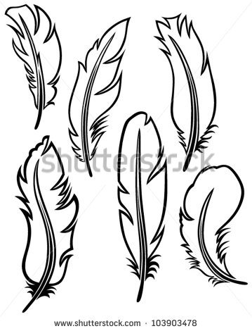Feather Outline Clipart Feather Set   Stock Vector