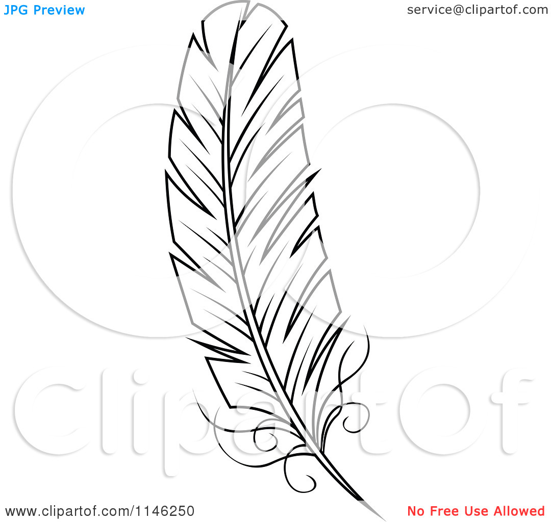 Feather outline clipart clipart kid for Feather outline template