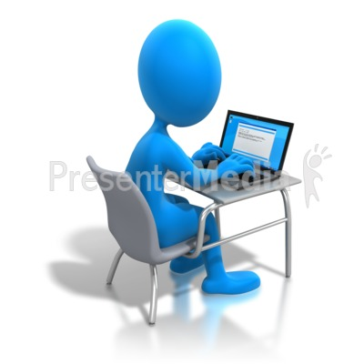 Figure Working Laptop Desk   Education And School   Great Clipart