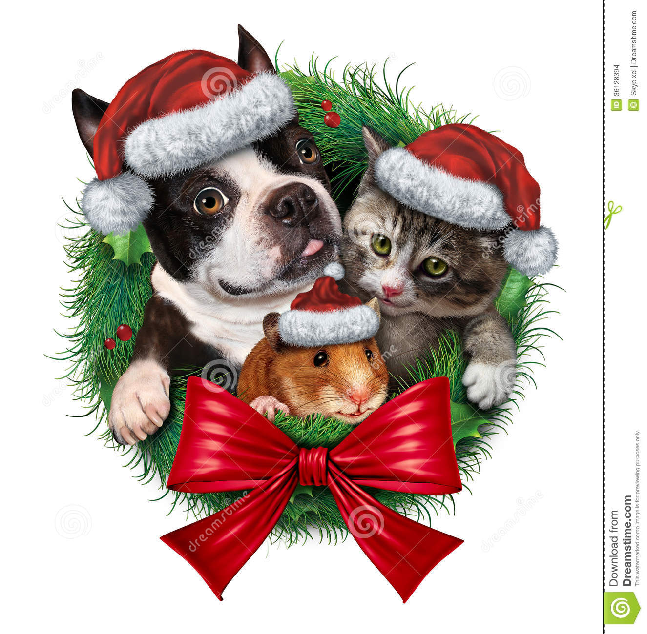 Pets Holiday Wreath With A Dog Cat And Hamster Wearing Christmas Hats