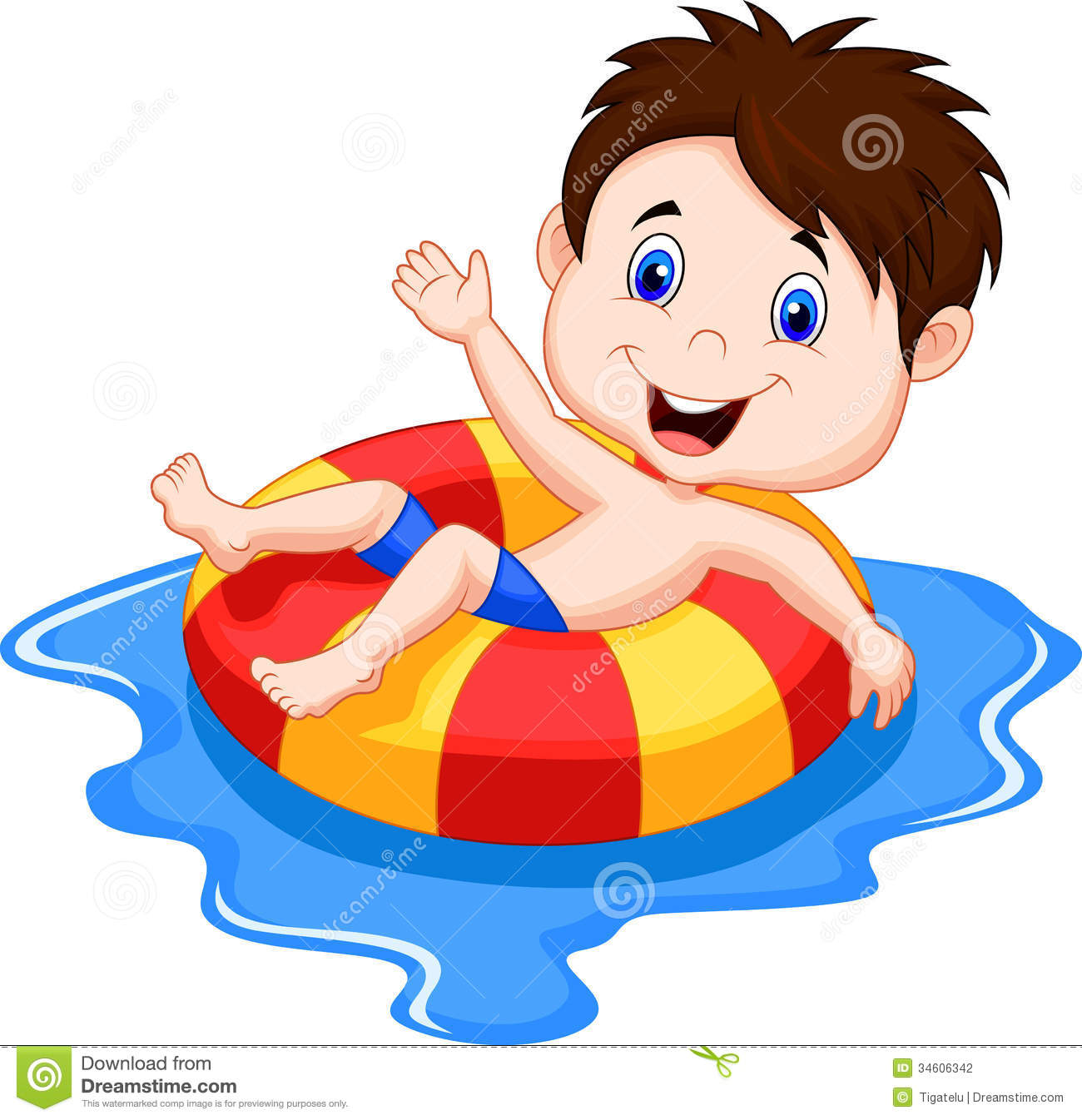Photography  Boy Cartoon Floating On An Inflatable Circle In The Pool