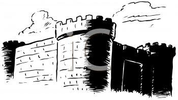 Royalty Free Clipart Image  Black And White Image Of A Castle