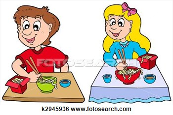 Stock Illustration   Boy And Girl Eating Chinese Food  Fotosearch
