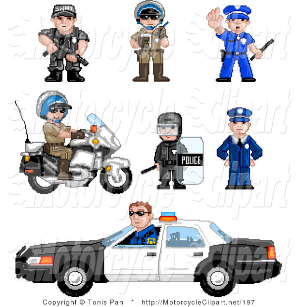 Transportation Clipart Of A Pixelated Officers By Tonis Pan    197