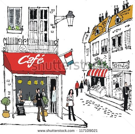 Vector Illustration Of French Village Street Scene With Cafe And