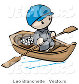 Vector Of Cartoon Oriental Guy Transporting Food By Wood Boat With
