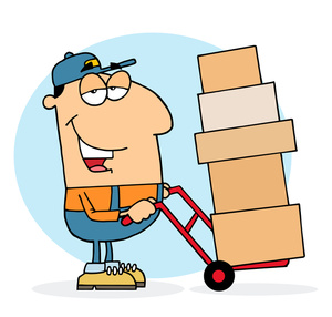 Worker Clipart Image   Blue Collar Worker Delivery Man Moving Boxes