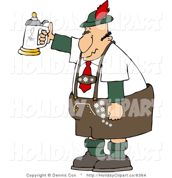 Art Of A German Man Celebrating Oktoberfest With A Raised Beer Stein