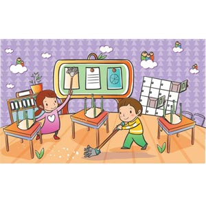 Beautiful Cute Children Couple Cleaning Home Vector Kids Illustration