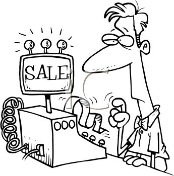 Black And White Cartoon Of A Man Using A Cash Register   Royalty Free