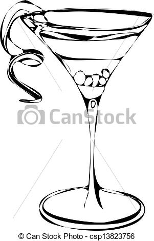 Black And White Isolated Vector Illustration Of A Cocktail Martini