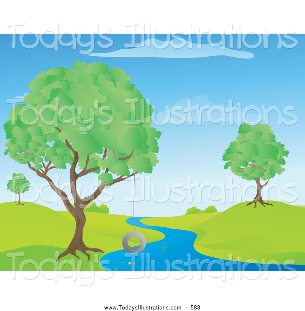 Clipart Of A Colorful Picture Of A Blue Stream Creek Or River Winding