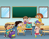 Clipart Of Kids Rehearsing Inside The Classroom K13078892   Search