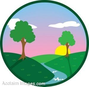 Creek At Sunset Icon Clip Art