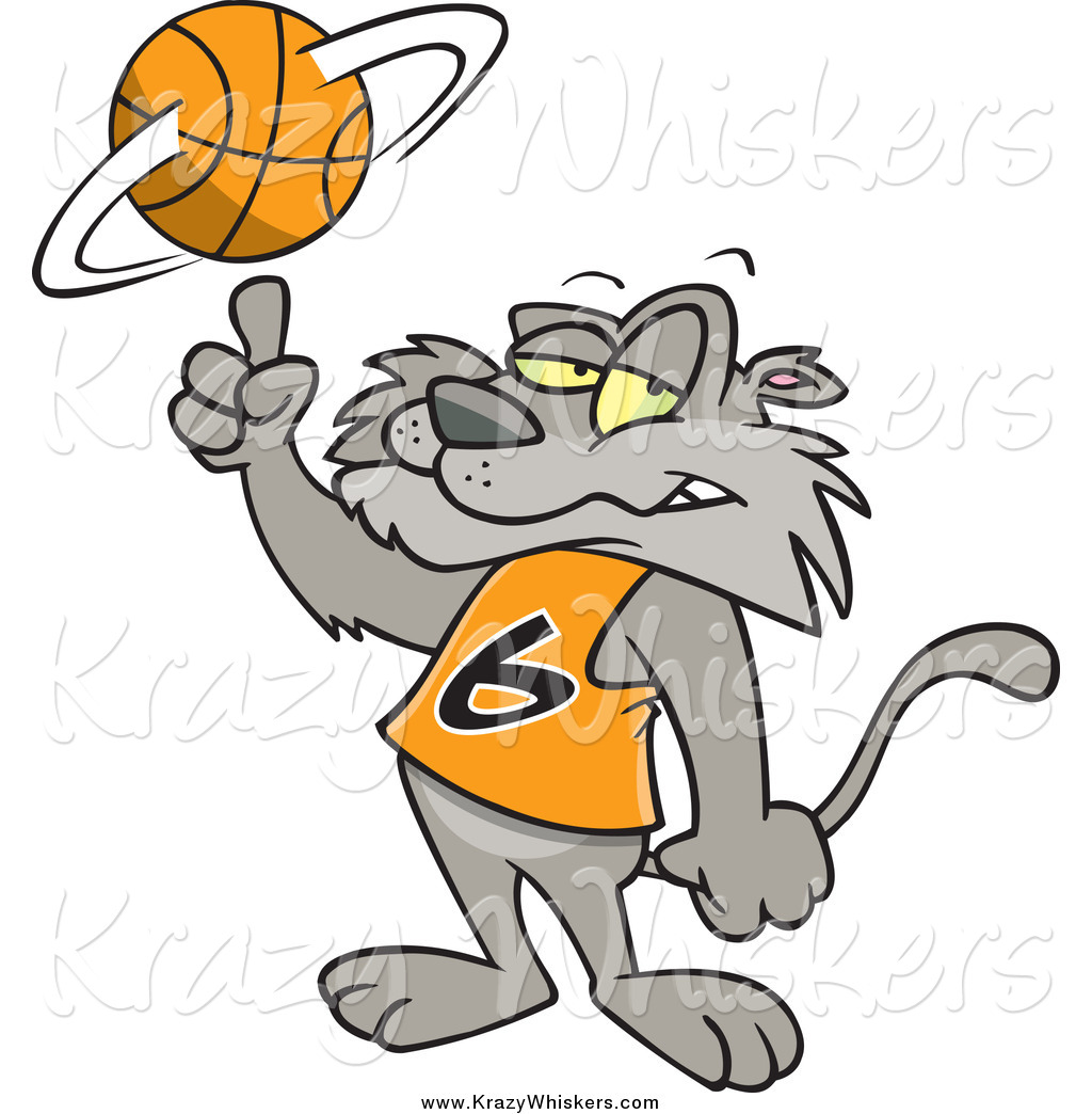 Critter Clipart Of A Cartoon Cat Spinning A Basketball By Ron Leishman