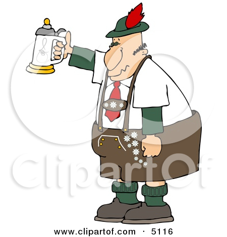 German Man Celebrating Oktoberfest With A Beer Stein Clipart By Djart