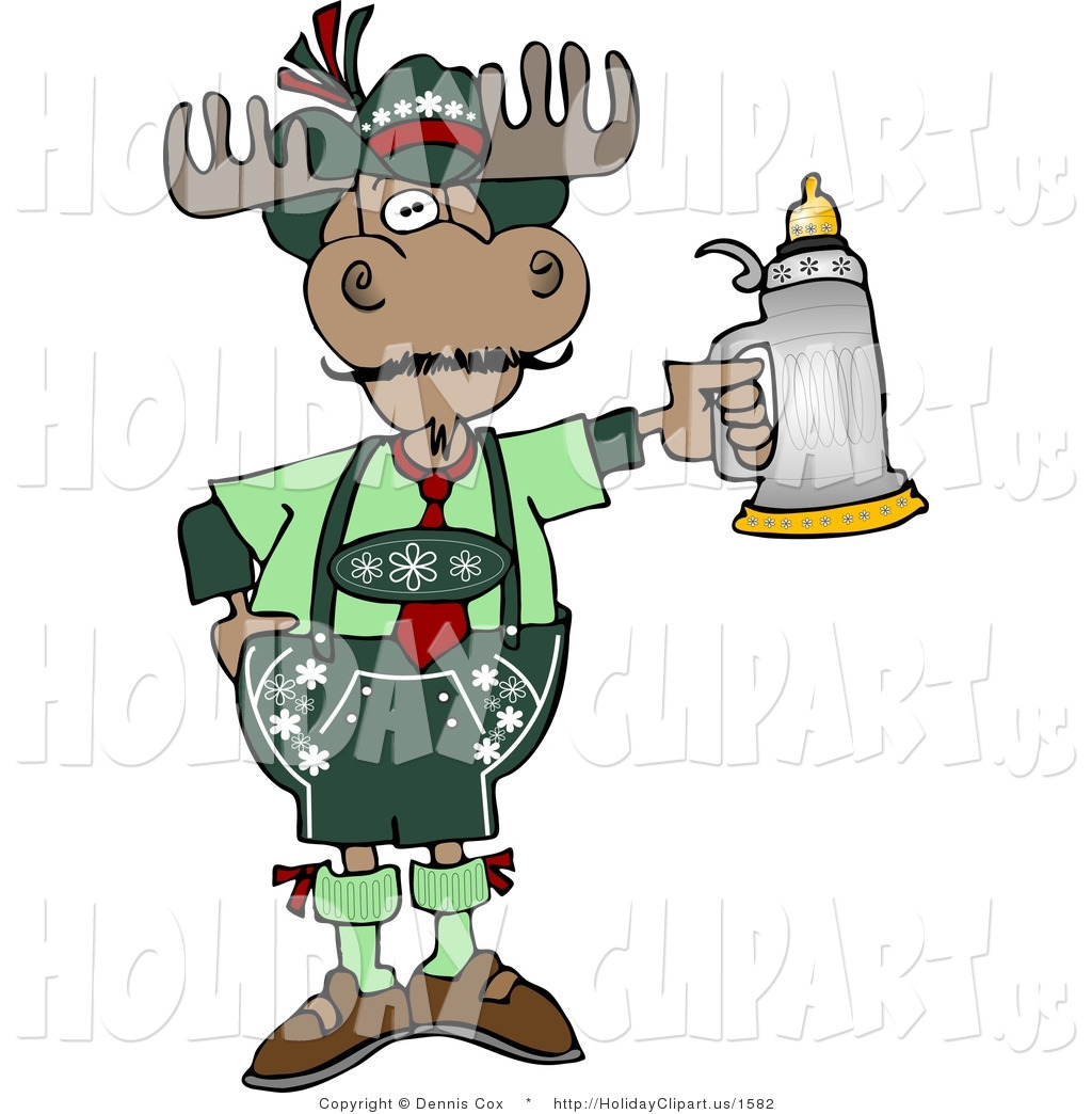 German Moose Celebrating Oktoberfest With A Beer Stein In His Hand
