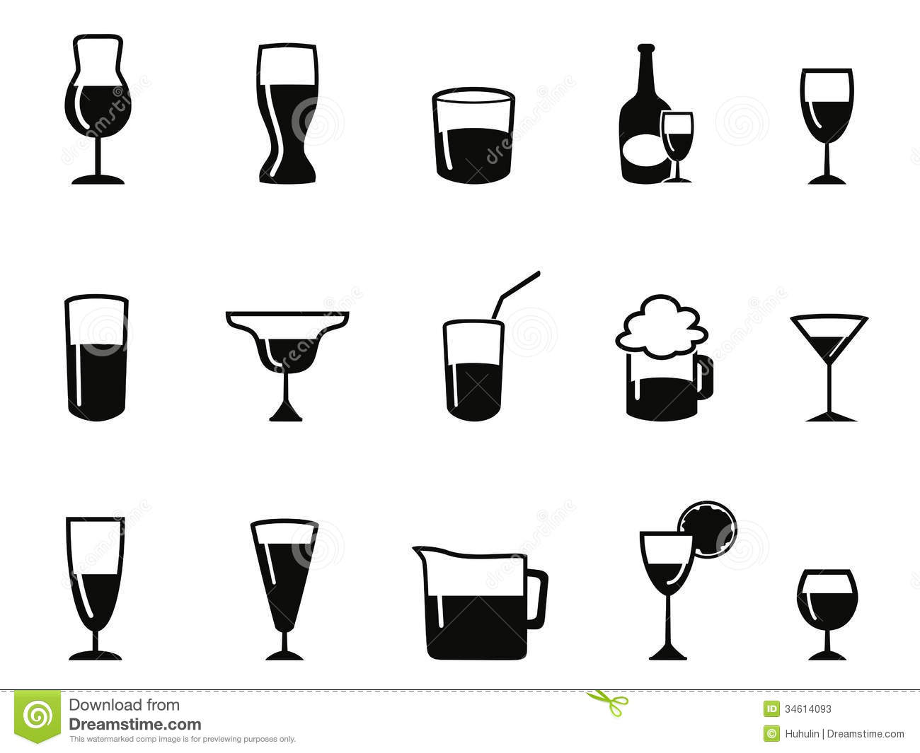 Isolated Alcohol Icons Set From White Background