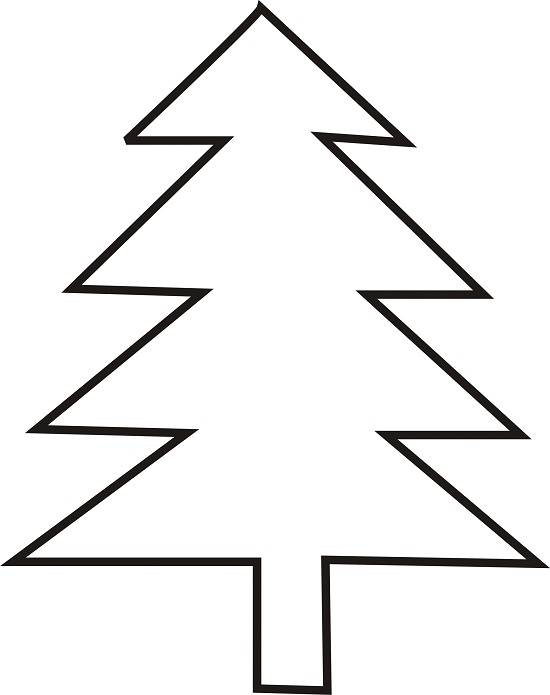 Simple Tree Outline Clip Art Christmas tree outline on black clipart ...