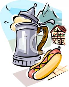 Stein Of German Beer And A Frankfurt   Royalty Free Clipart Picture