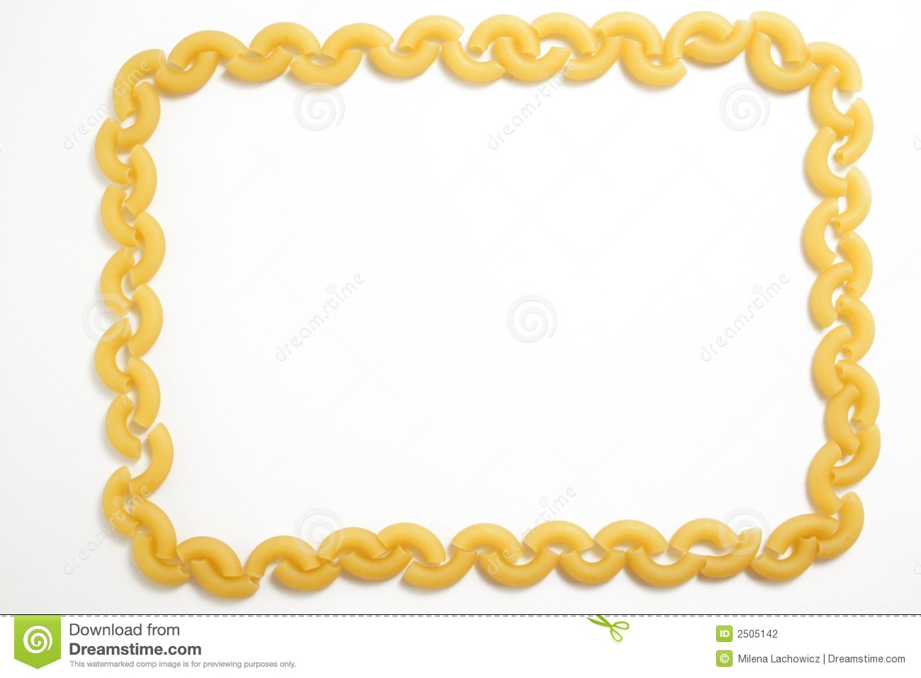 Uncooked Little Noodle  Frame On The White Background