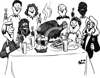 1011 2417 0719 People At Thanksgiving Dinner Feast Clipart Image Jpg