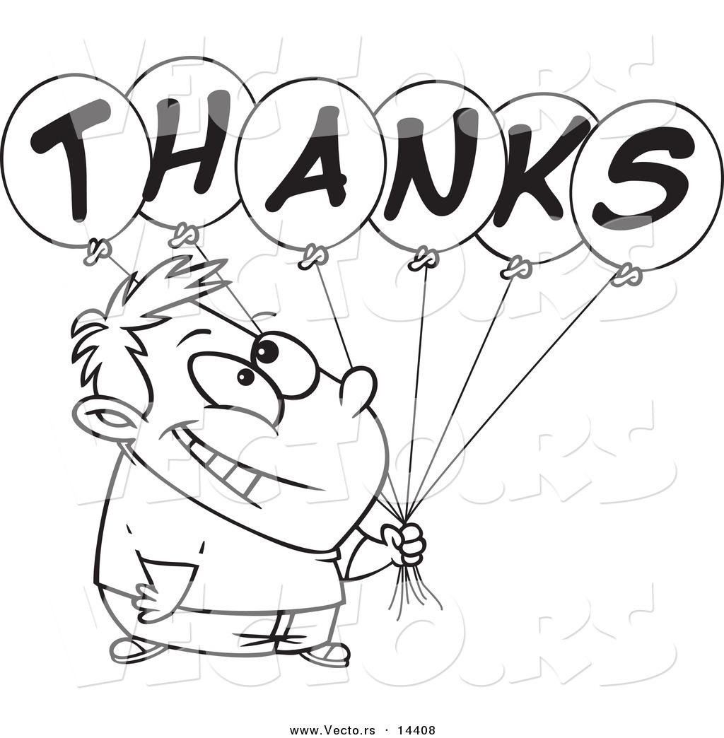 Cartoon Grateful Boy Holding Thanks Balloons   Coloring Page Outline