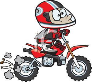 Cartoon Of A Boy Riding A Motorcycle   Royalty Free Clipart Picture