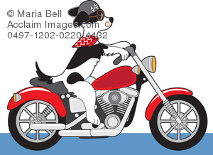 Cartoon Of A Puppy Dog Riding A Motorcycle Or Chopper Clipart Image