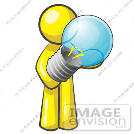 Clip Art Graphic Of A Yellow Guy Character Holding A Light Bulb