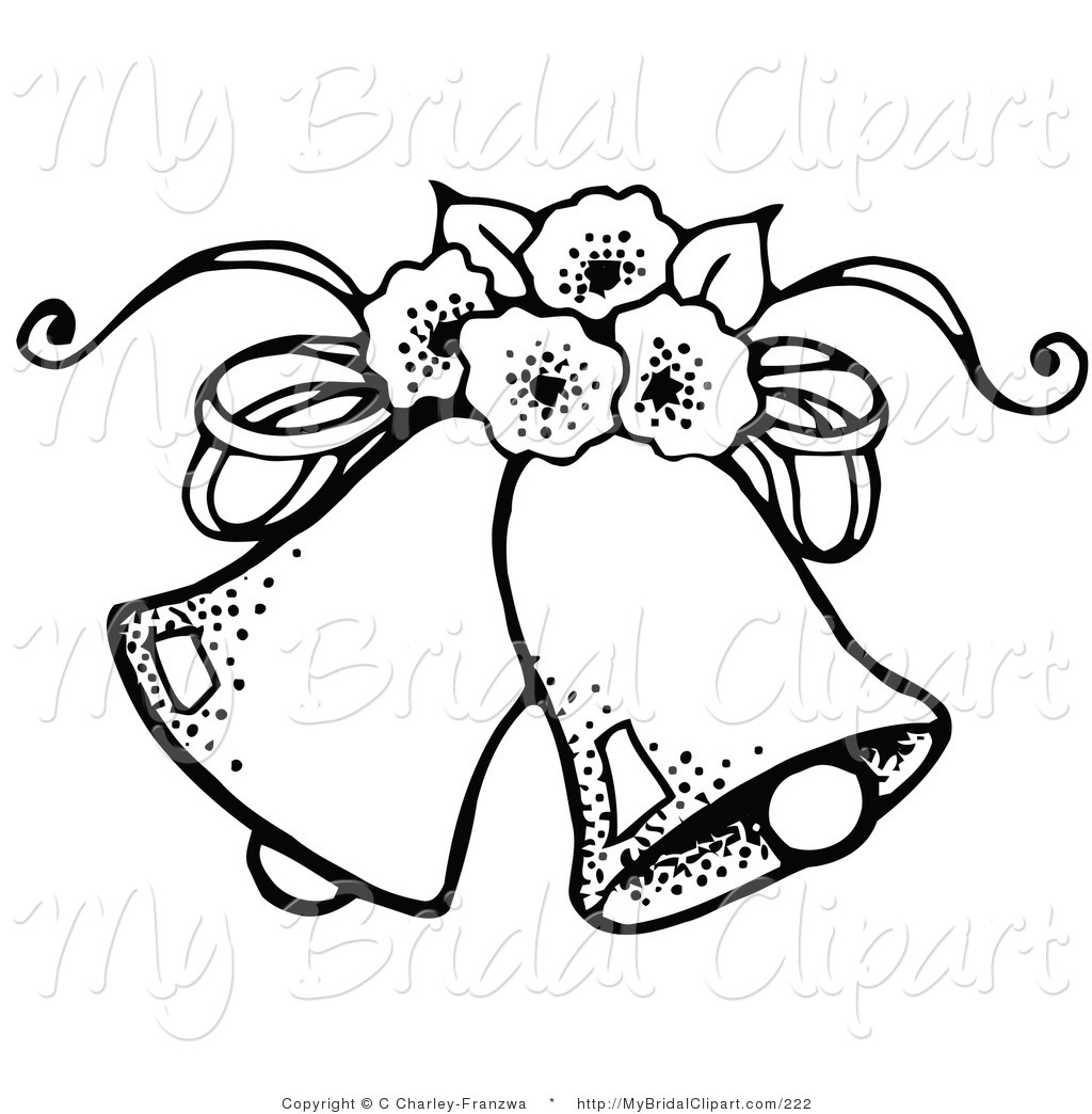 Coloring Page Of Two Wedding Bells With Flowers Wedding Bell Made Of