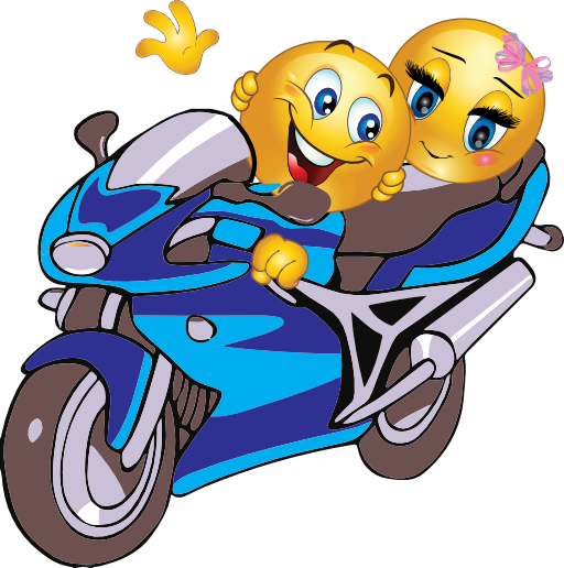 Couple Motorcycle Smiley Emoticon Clipart Royalty Free Public Domain
