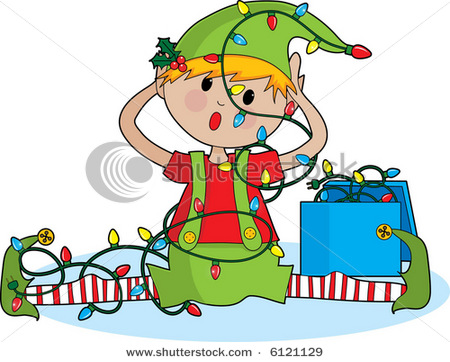 Cute Little Elf Tangled In Christmas Lights   Vector Clip Art