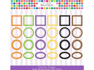 Halloween Scalloped Frames Labels Digital Clipart  No  069    Meylah