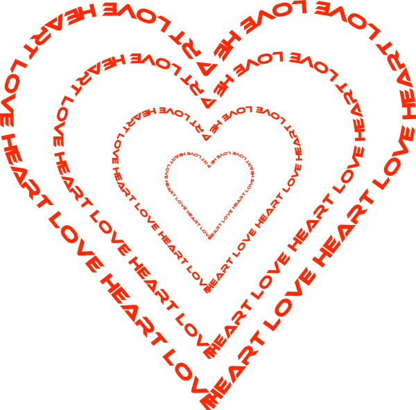 Heart Done By Words Outline Clip Art At Clker Com   Vector Clip Art