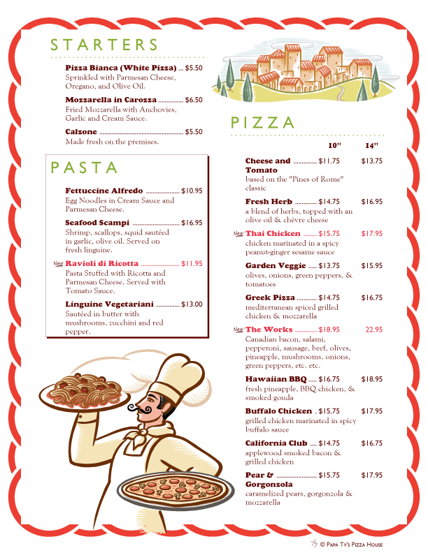 Italian Themed Pizza And Pasta Menu With Ai Menu Graphics Art