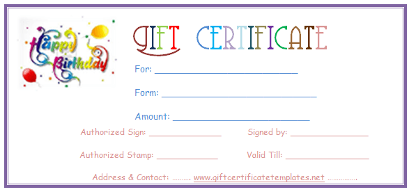 Birthday Gift Certificate Clipart Clipart Kid – Happy Birthday Certificate Templates