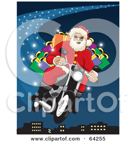 Santa Flying His Motorcycle Through The Blue Christmas Night