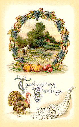 Vintage Clip Art   Harvest Wreath With Thanksgiving Turkey And Horn Of