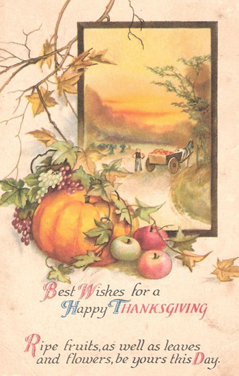 Vintage Clip Art Thanksgiving Clip Art   Harvest And Blessing Word