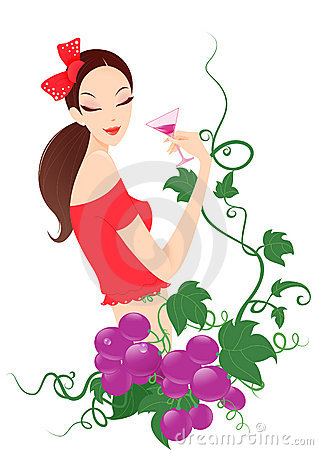 Woman Drinking Wine Clipart Girl Drinking Wine Grape