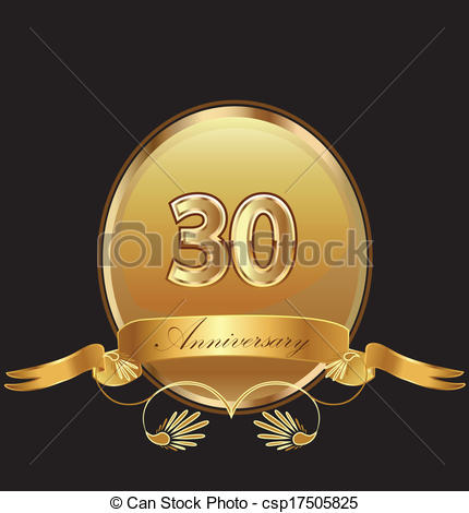 30th Anniversary Birthday Seal In Gold Design With Bow Icon Vector