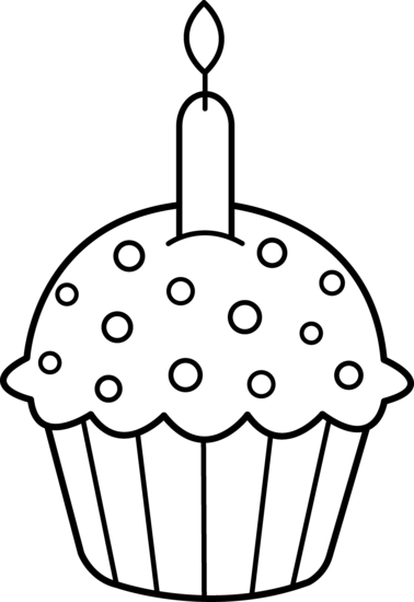 Birthday Cupcake Clip Art Black And White Birthday Cupcake Coloring