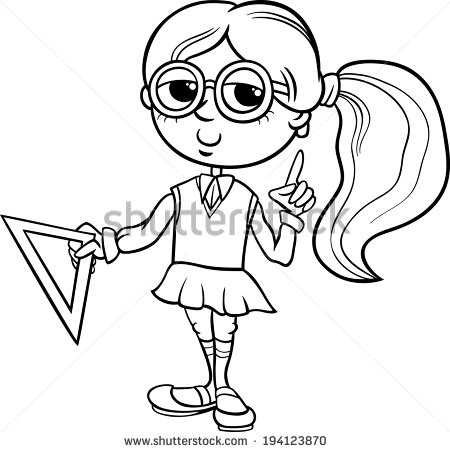 Black And White Cartoon Illustration Of Elementary School Student Girl