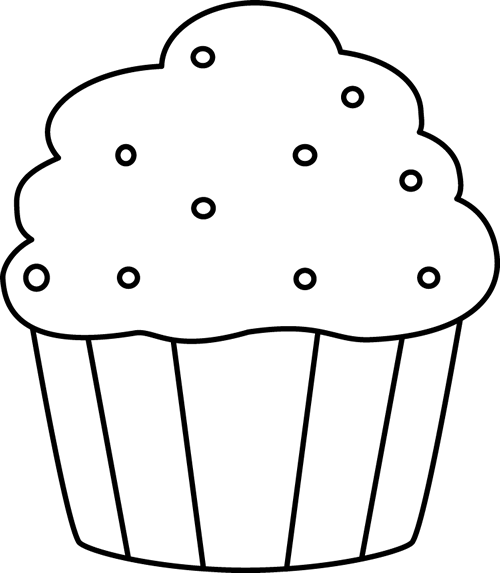 Black And White Cupcake With Sprinkles Clip Art Image  Black And White